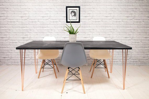Black And Copper Kitchen Dining Table Sleek Modern Copper Hairpin