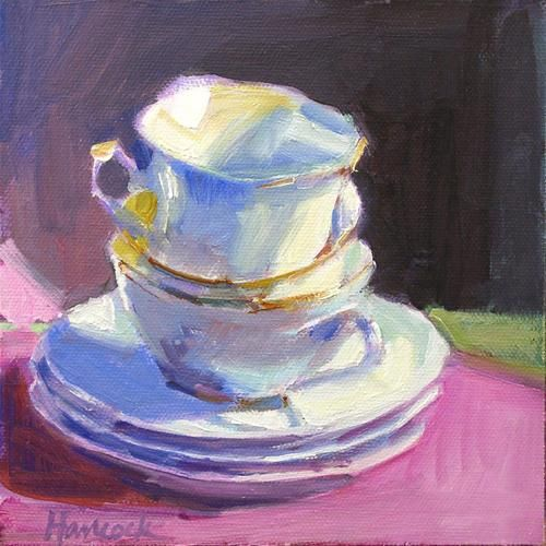 White and pink and blue and lavender cup stack for Original fine art for sale
