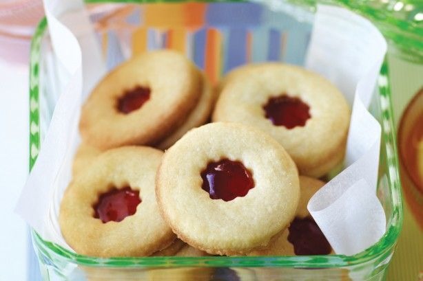 These jam-filled biscuits are a light and tasty afternoon treat.