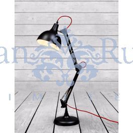 <p>Black Traditional Desk Lamp (Red Fabric Flex)</p>