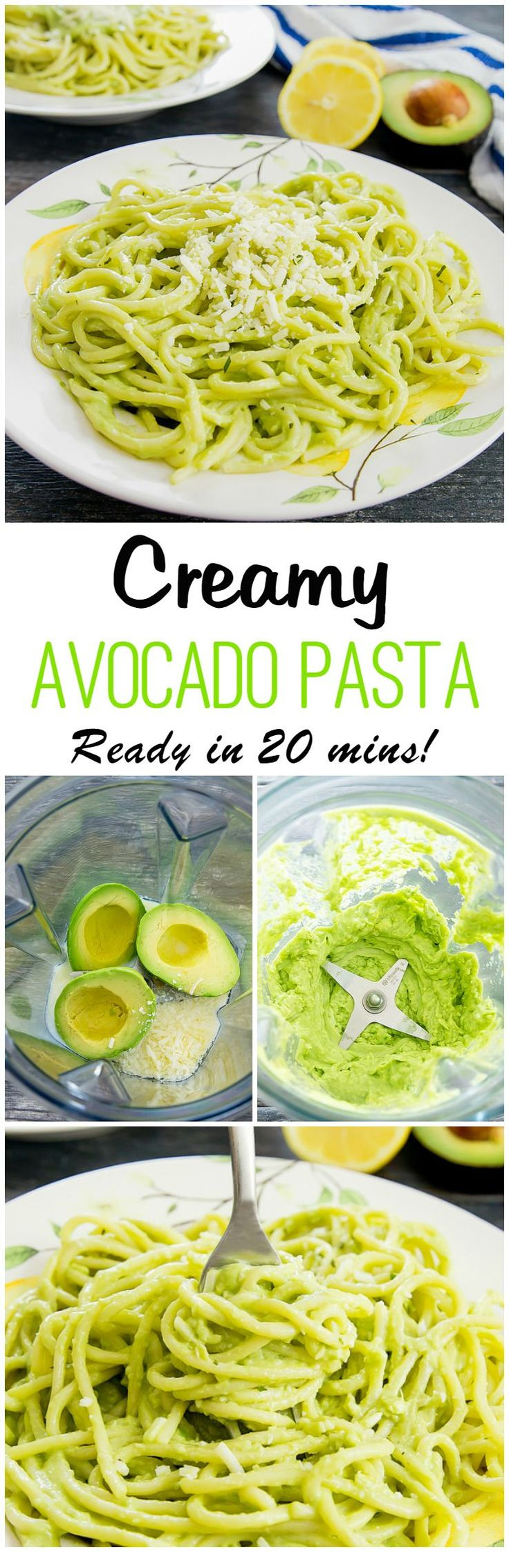 The creamiest avocado pasta. Ready in 20 minutes with this no cook, blender…