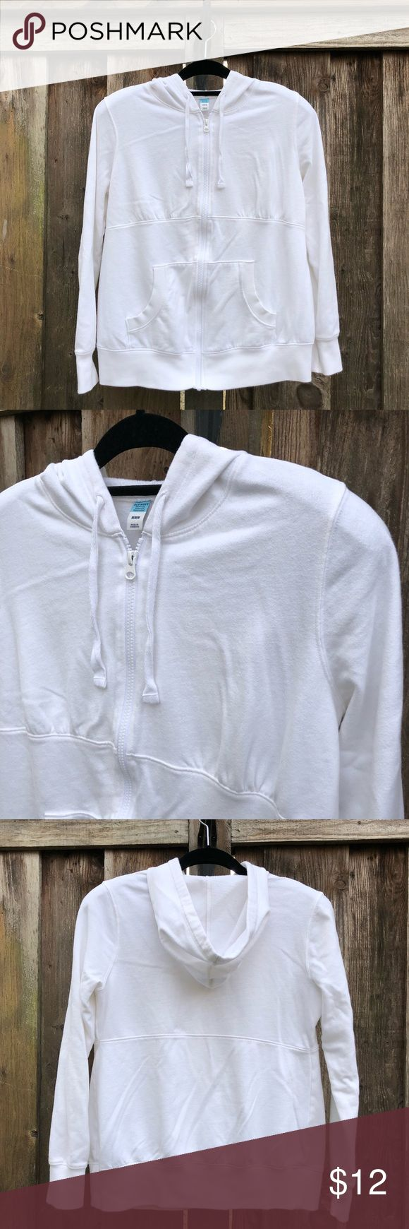 Old Navy, White, Zip-Up Hoodie, Maternity, M White Old Navy Zip-Up Maternity Hoodie.  60% Cotton, 40% Polyester. Machine wash.  Gently worn. Great condition. Old Navy Tops Sweatshirts & Hoodies