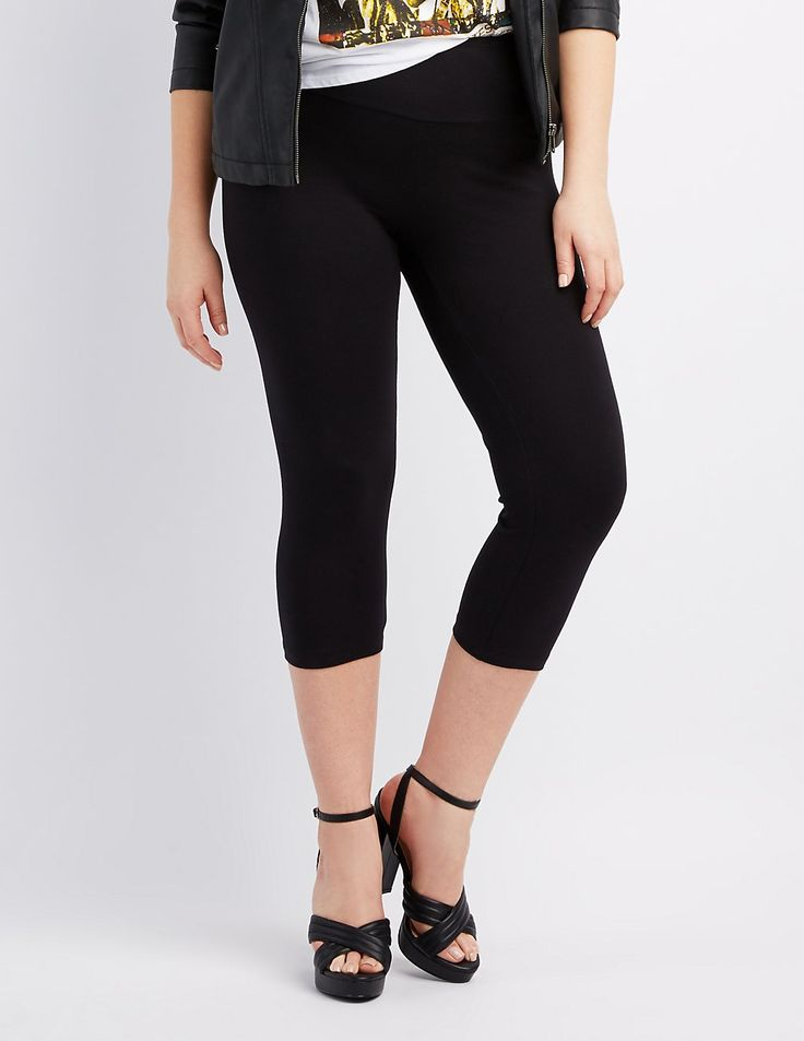 Get back to basics with these comfy and cute cotton-spandex leggings! A wide, elastic waistband tapers into cropped legs, for a sporty take to your classic staple legging.