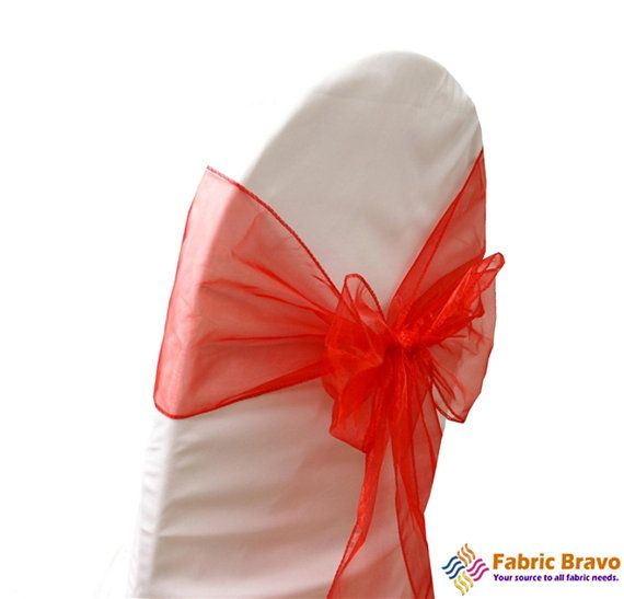 Red Organza Chair Sash Bows for Weddings Parties by FabricBravo, $6.99