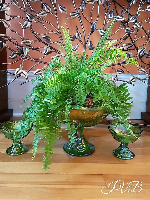 Iridescent Green Carnival Indiana Glass Co  3 pieces set