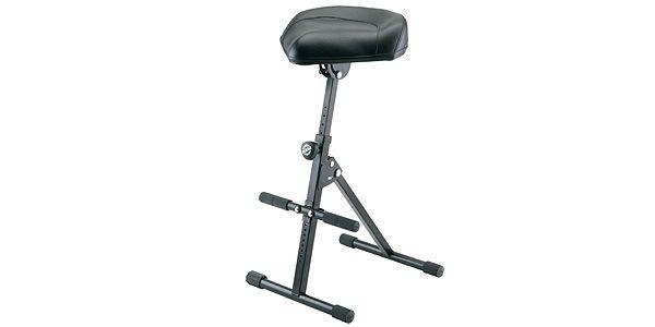 ギター椅子 : スプリング内蔵で簡単に高さ調整できます。座面角度調節可。足台高さ調節可。オプションで背もたれも付けられます。 K&M>14047(合皮)【サウンドハウス】
