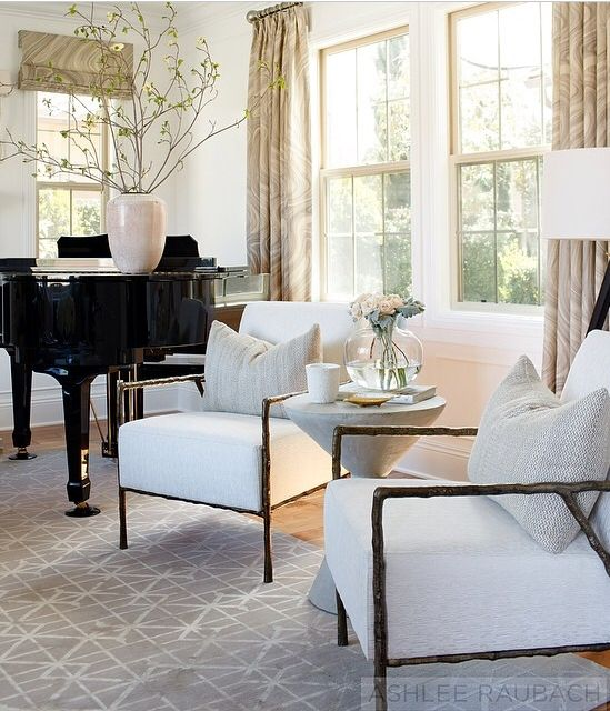 Traditional Living Room With Crown Molding, Carpet, Steinway Grand Piano,  Agate Graphite Fabric Drapes, Hardwood Floors