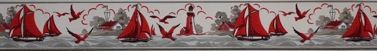 Rosie's Vintage Wallpaper - Duro Vintage Wallpaper Border Lighthouse and…