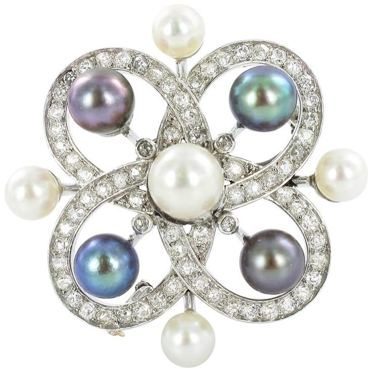 Cultured Pearl Diamond Brooch | From a unique collection of vintage brooches at https://www.1stdibs.com/jewelry/brooches/brooches/