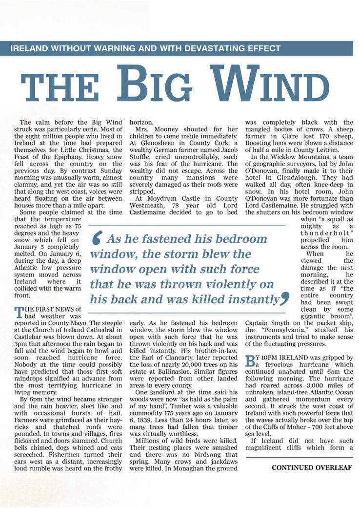 The Night of the Big Wind in 1839 | Ireland's Own