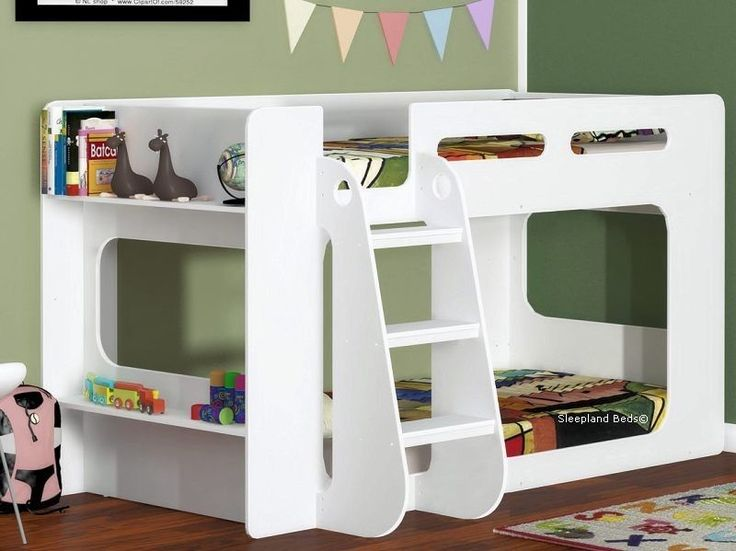 Short Height Bunk Bed - Extra Low Bunk - With Storage Shelf - White Finish