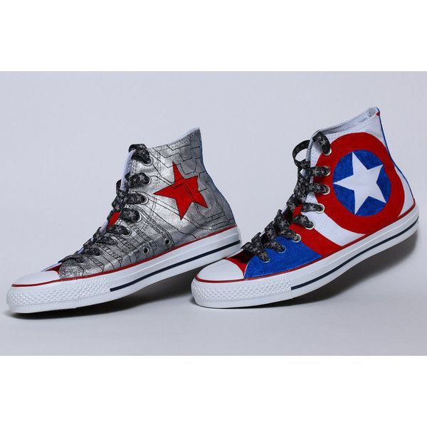Hand Painted Captain America/Winter Soldier Shoes ($210) ❤ liked on Polyvore featuring shoes and unisex shoes