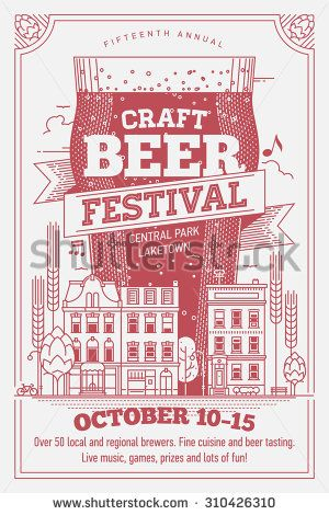 Craft beer festival cool detailed vector poster template with giant glass of beer over old town row houses street, retro lettering, hops, barley and more  - stock vector