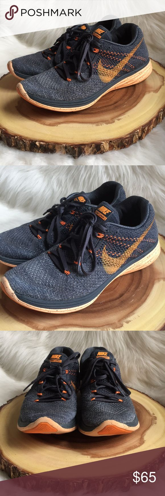 Nike flyknit lunar 3 sneakers Awesome running sneakers. Great used condition. Extremely comfortable and supportive sneaks. Nike Shoes Sneakers