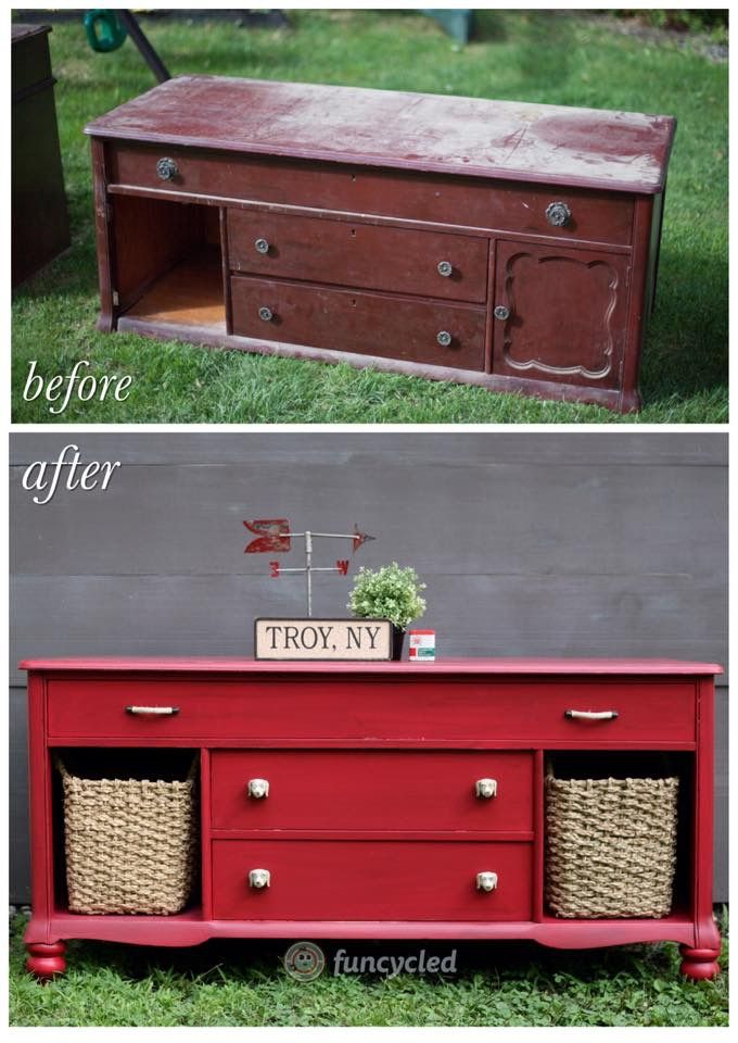 From Broken-Down Eyesore to Stunning! Red Buffet Makeover by FunCycled http://funcycled.com/projects/burn-it-or-bring-it-back-that-red-buffet/ #makeover #buffets #repurposedfurniture #handmade #DIY #paintedfurniture #funcycled