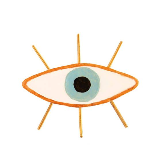 Eye BROOCH eyeballs ceramic pin  EVIL EYE