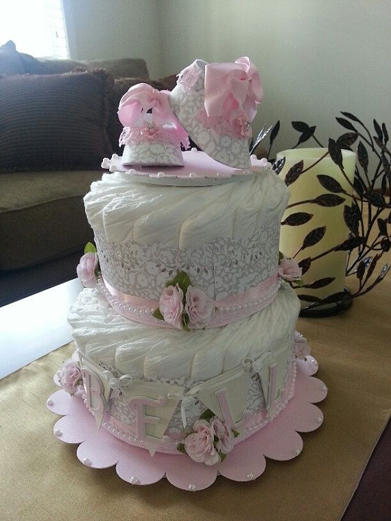 Two tier floral diaper cake elegant baby
