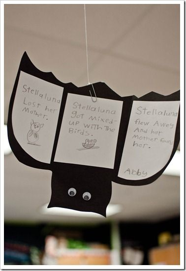 "I also had the kids make their own beginning/middle/end story map.  After they organized their thoughts onto their trifolds, one of my sweet moms came in to help guide the kids as they ""published"" their work on these bats…We hung them {upside down} from the ceiling!"