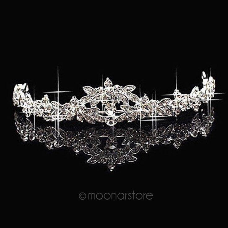 flower Rhinestone tiara crown bridal hair Jewelry party Wedding accessories