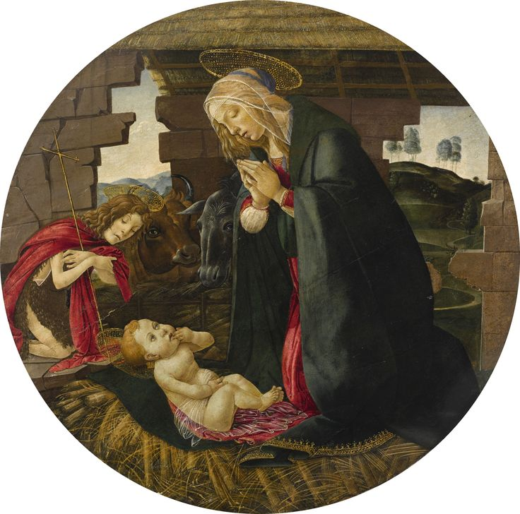Alessandro di Mariano Filipepi, called Botticelli, and Studio FLORENCE 1445 - 1510 THE MADONNA AND CHILD WITH SAINT JOHN THE BAPTIST oil on panel, a tondo diameter: 34 1/4  in.; 87 cm. Estimate 500,000 — 700,000 USD MASTER PAINTINGS & SCULPTURE EVENING SALE 25 JANUARY 2017 | 6:00 PM EST NEW YORK sotheby's