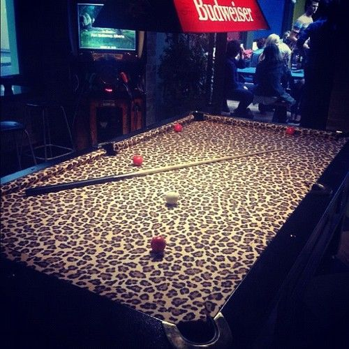 RE-POSTED this for you Lindsey Ralston OMG Leopard print pool table!!! #leopardprint  (at Newtown Hotel)