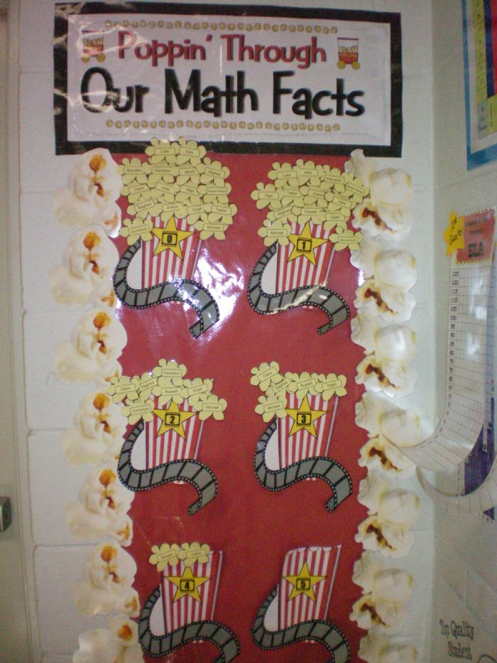 Poppin' through Math Facts...whenever the whole class masters the facts they get a popcorn party..Mom 101, Room Mom, Multiplication Facts, Popcorn Parties, Math Ideas, Math Facts, Bulletin Boards, Math Wall, Multiplication Bulletin Board