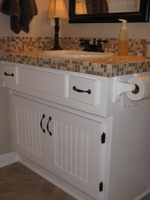 tile on top of laminate counter top in bathroom