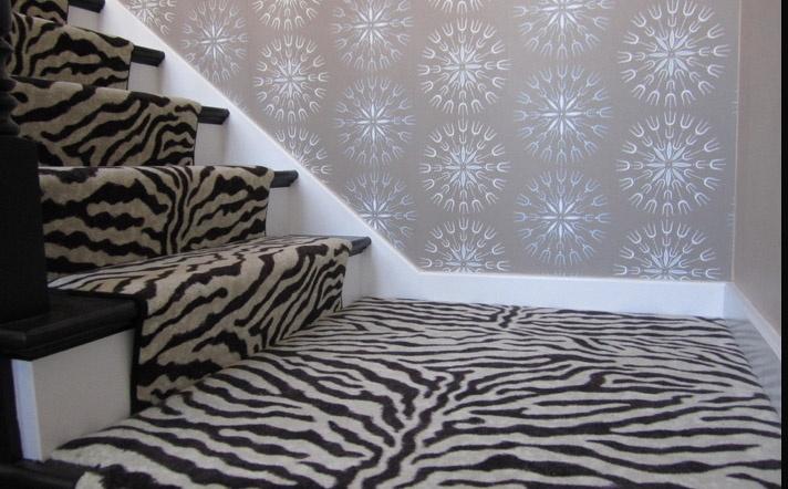 Zebra print stair runner for the love of animal print for Zebra print flooring
