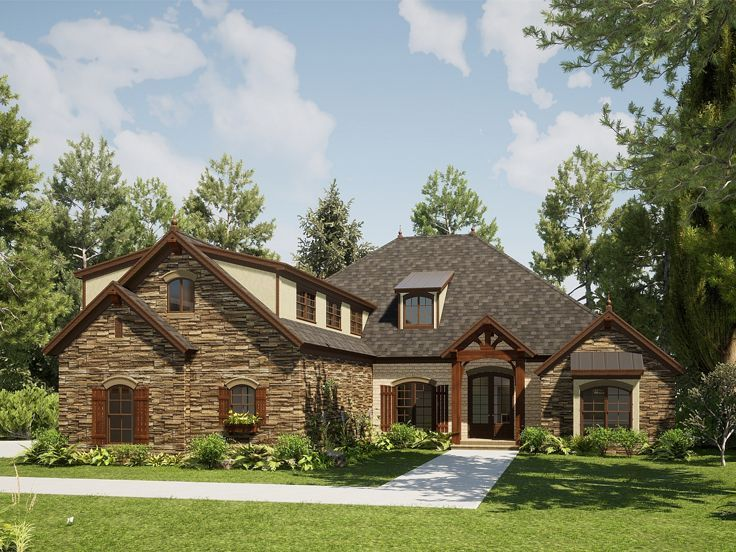 074h 0132 One Story European House Plan In 2020 Country Style House Plans Craftsman Style House Plans Craftsman House Plans