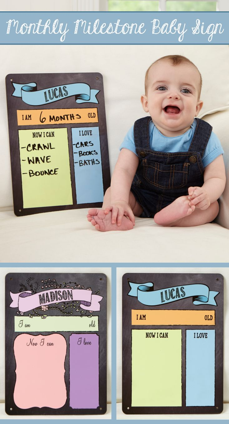 LOVE This adorable Personalized Month by Month Dry Erase Baby Sign! You can pick a boy or girl design and add their cute info every month! It's perfect for monthly baby photos so you can keep track of how they're growing... such a great baby gift idea, too!