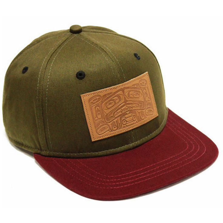 34f448fcb6f Snapback adjustable hat with Legends design in leather on a 100% cotton  twill dark olive