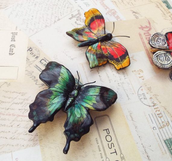 Green and Black Large Ceramic Butterfly Magnet  by PaintedFancy, $25.00