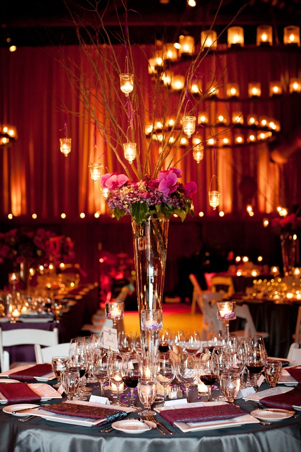 Rent A Trumpet Or Pilsner Vase For Tall Wedding Centerpiece With Curly Willow Branches
