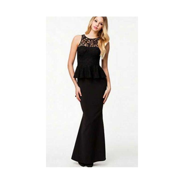 Vestido largo Glamour peplum encaje