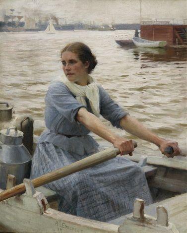"""The Milkmaid,"" 1889 -- by Albert Edelfelt (Finnish, 1854–1905)"
