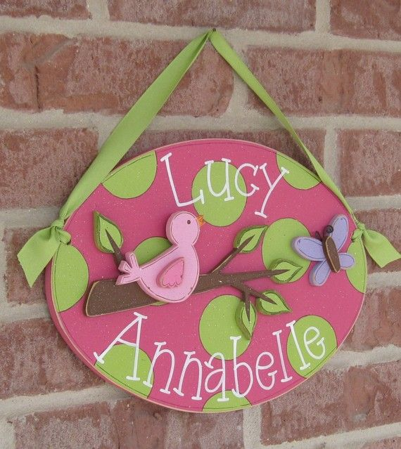 Custom Personalized Name or Word Oval Sign with bird by lisabees