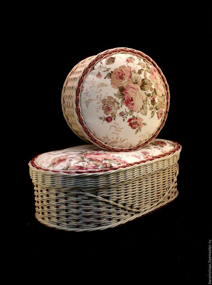 Купить Овальная шкатулка для ниток Цветочное лукошко - бежевый, шкатулка, шкатулка для рукоделия, плетение из бумаги