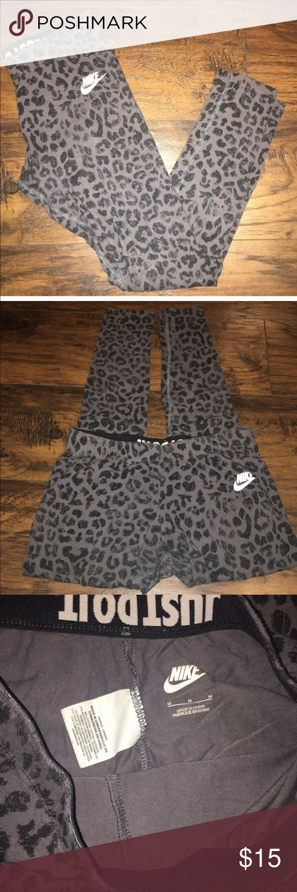 Nike leopard print leggings Nike leopard print leggings. Size medium. Only worn once. Nike Pants Leggings
