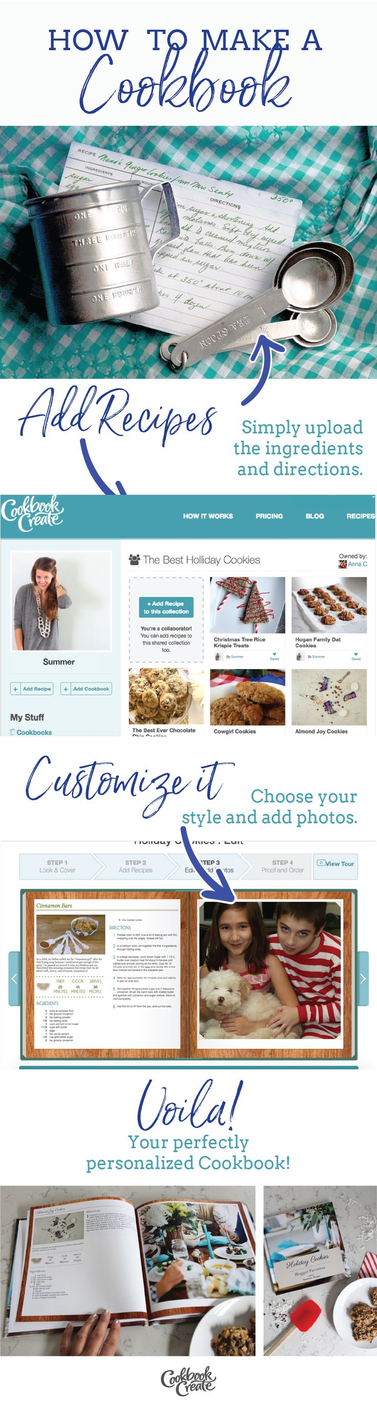 Want to make a custom cookbook? Add your own recipes and images and Voila!