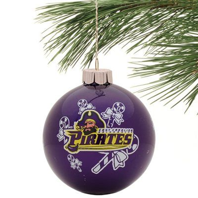 East Carolina Pirates Candy Cane Traditional Ornament - Purple
