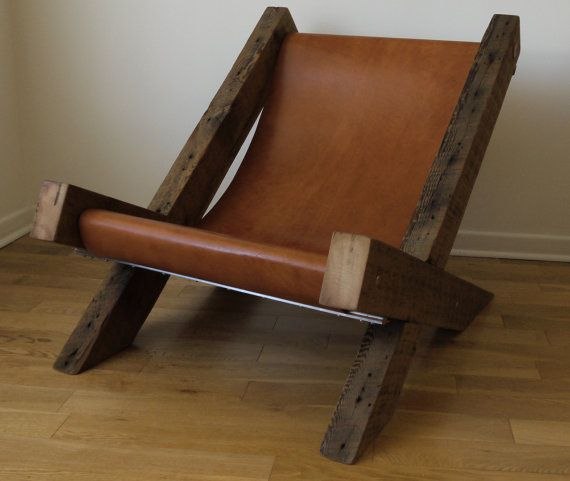 Reclaimed Wood and Leather Lounge Chair by TicinoDesign on Etsy, $980.00