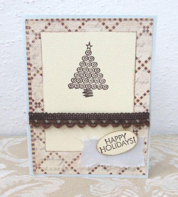 Happy Holidays Card  Christmas Card  Ivory by PrettyByrdDesigns