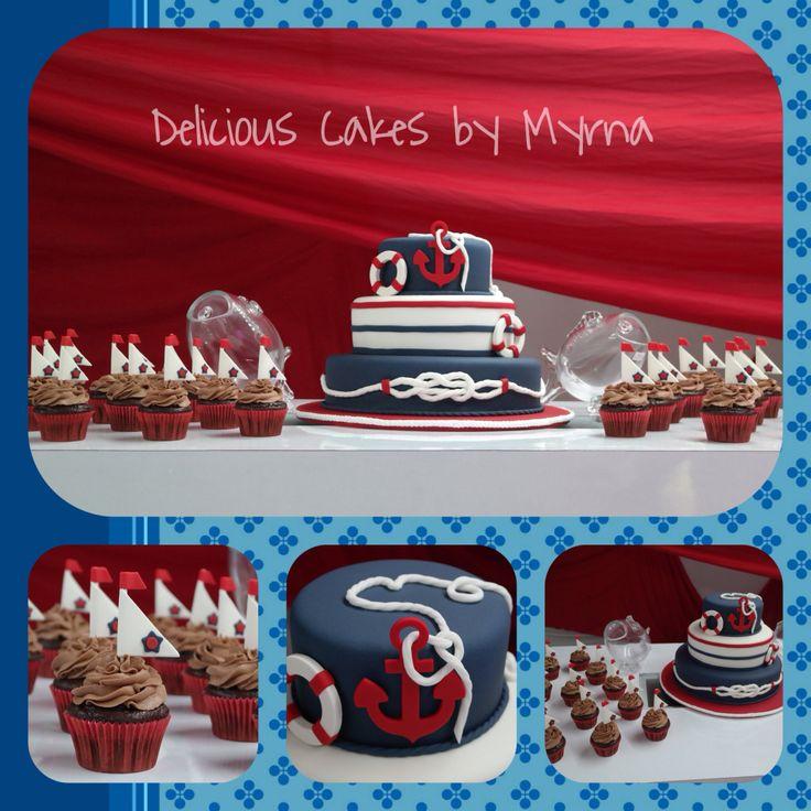 Nautical cake and cupcakes