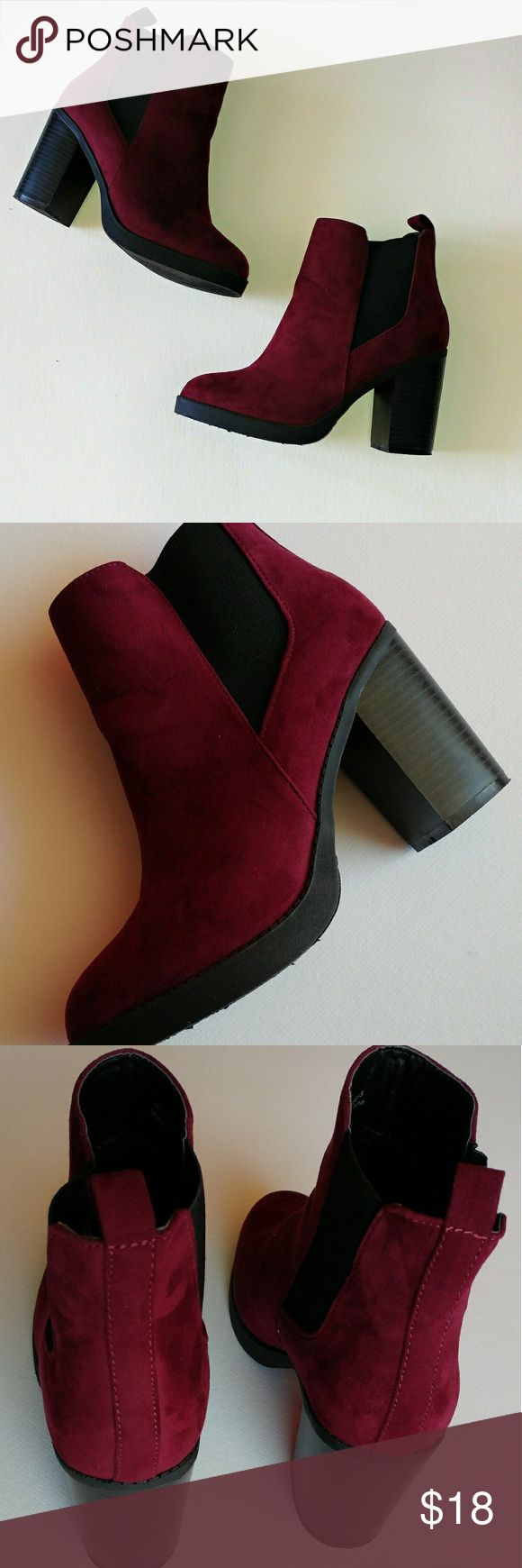 Atmosphere Heeled Ankle Boots Primark Atmosphere Burgundy Heeled Ankle Boots Heel Height: 3.75 inches Textile upper Rubber Sole Made in China  Like new, minor flaws Shoes Ankle Boots & Booties