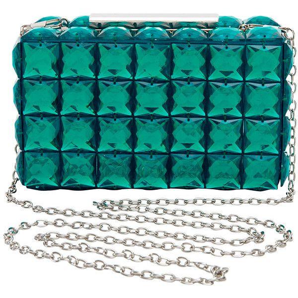 Hot Options Jewelled Box Clutch Aqua Target Australia (£23) ❤ liked on Polyvore featuring bags, handbags, clutches, sacs, aqua purse, chain strap purse, jewel purse, aqua handbag and jeweled handbags