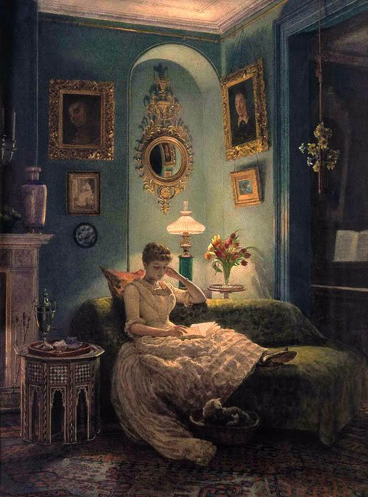 """""""Evening at Home""""  ~ by Edward John Poynter (English, 1836-1919) -- pure contentment (or am I projecting!)"""