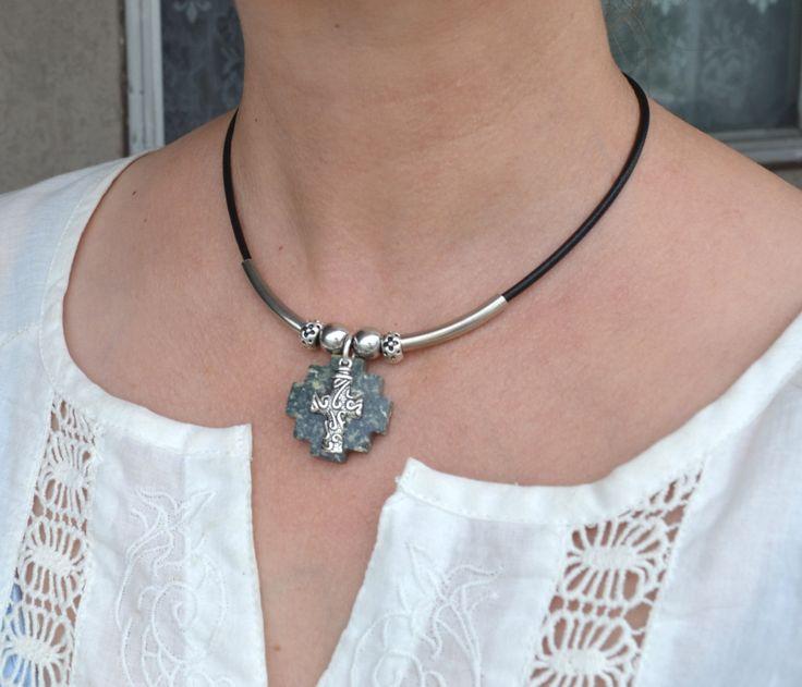 Cross Necklace, Jasper Cross Necklace, Silver Cross Necklace, Cross Leather Necklace (548) by LKArtChic on Etsy