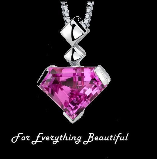Pink Sapphire Superman Cut Modern Sterling Silver Pendant