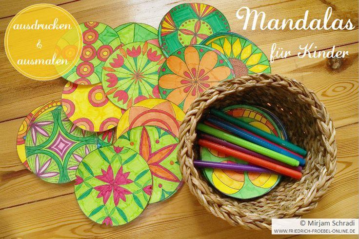 Mandalas zum Ausdrucken und Ausmalen für Kinder und Kindergartenkinder- free printable!   Hier:   http://www.friedrich-froebel-online.de/d-o-w-n-l-o-a-d/mandalas-zum-ausdrucken/  Website:  http://www.friedrich-froebel-online.de