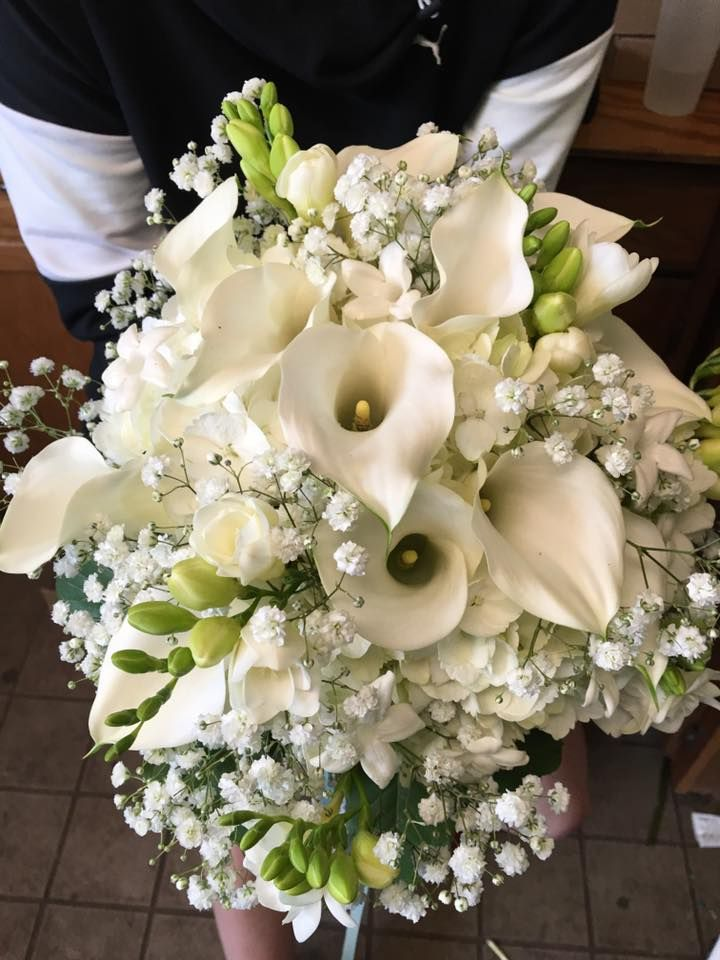 Bridal Bouquet Of White Hydrangea Freesia Calla Lily And Baby S